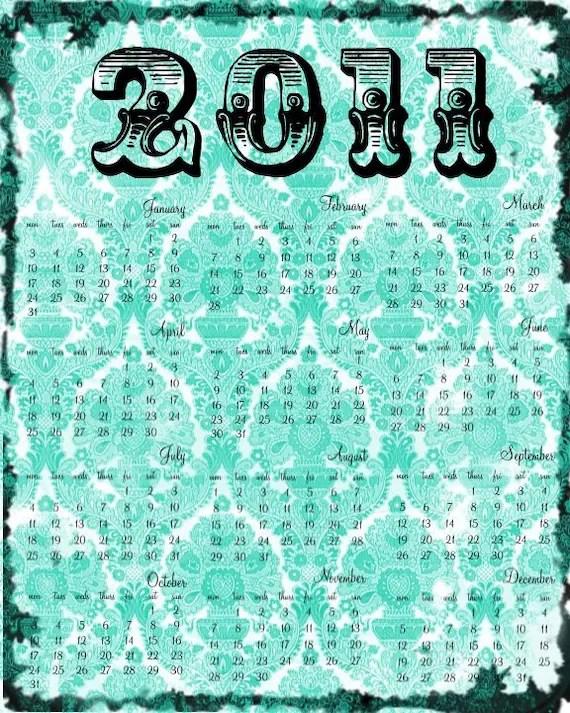 8x10 Graphic Calendar Damask 2011
