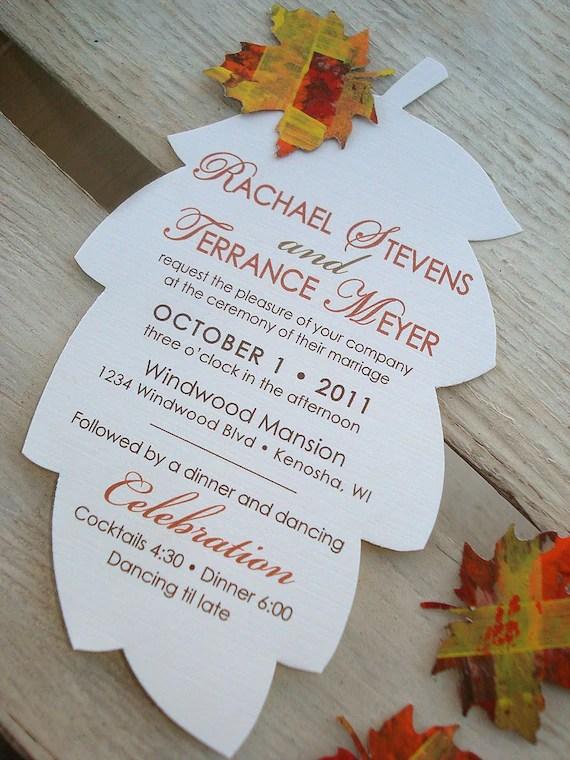 FALLING IN LOVE Hand Cut Autumn Leaf Wedding Invitation - Sample