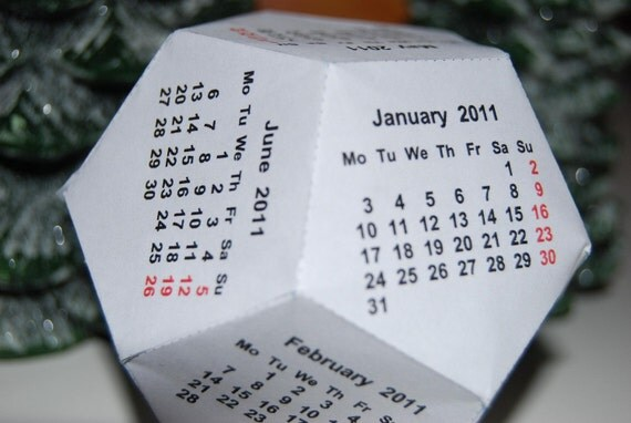 Dodecahedron 12 sided Calendar Template, Available in 51 different Languages