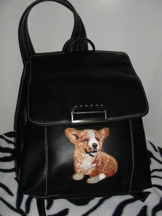 Corgi Purse zip strap Shoulder Bag or Backpack Black Leather Puppy Dog Bag