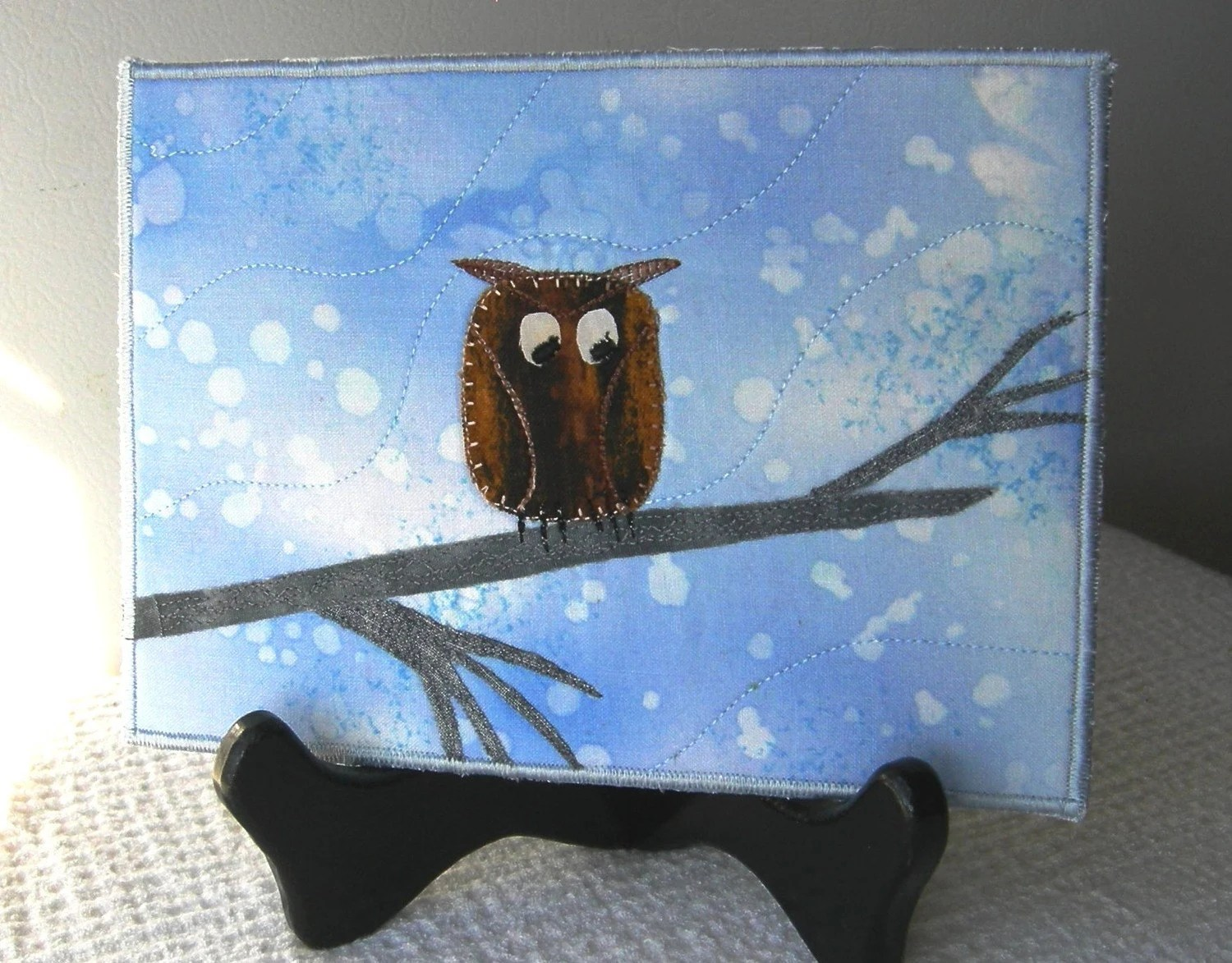 Who the Owl Quilted Fabric Postcard