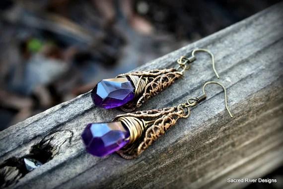 Amethyst Briolette Bronze Wire Wrapped Earring