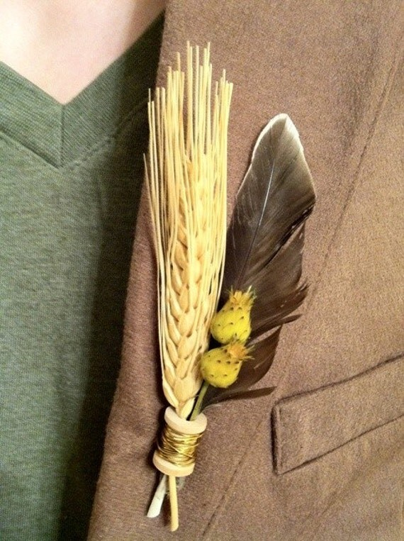 Farmland FEATHER Boutonniere by The Boutonniery