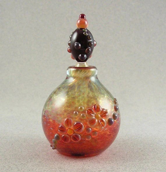 Floral Bulb - Blown borosilicate stoppered bottle vessel by Beau Barrett