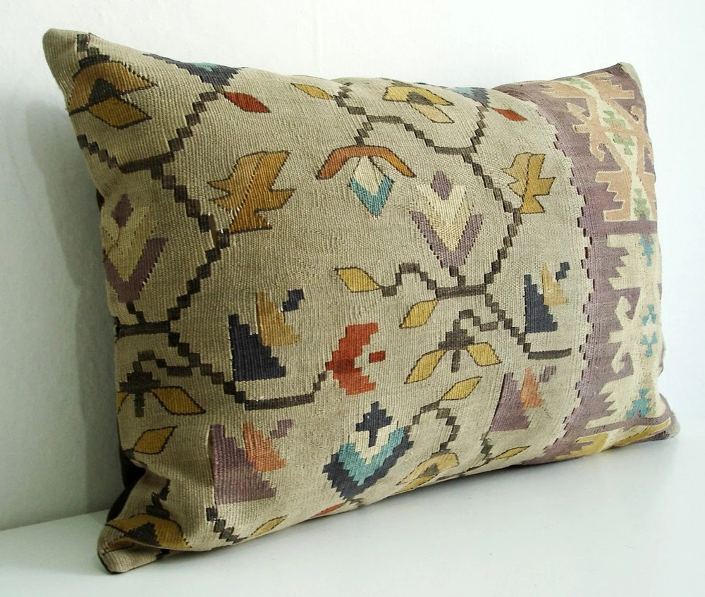Hand Embroidered-Turkish Antique Rug Cushion Covers