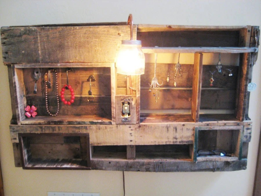 Jewelry Display Organizer Made from Upcycled Wooden Pallets