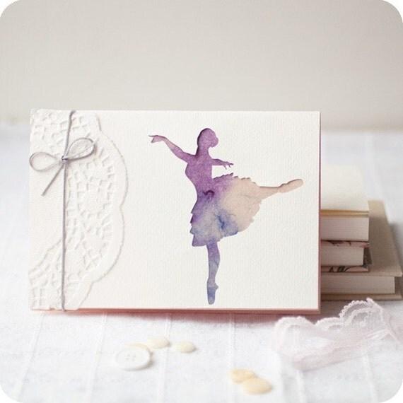 Ballerina - papercut greeting card - 4x6 inches