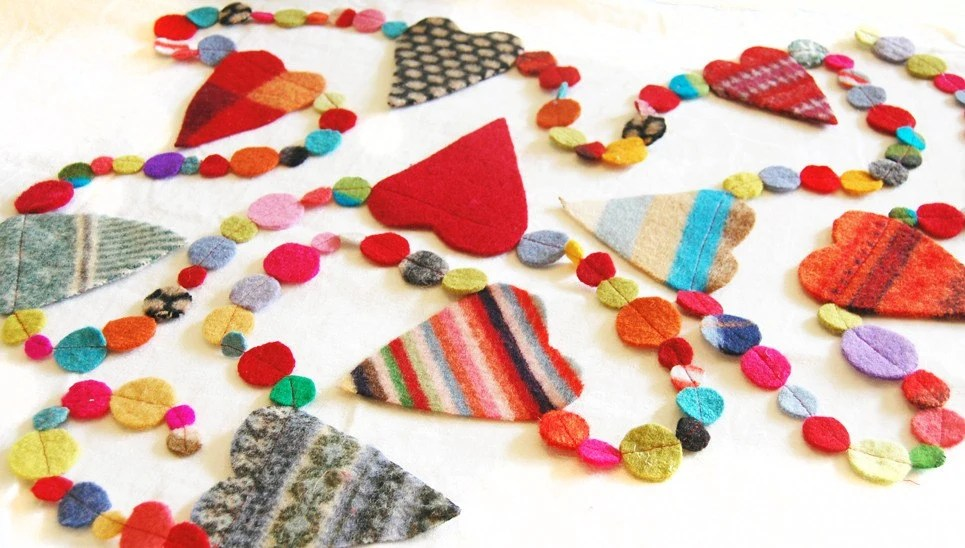 colorful felt garland with hearts and circles 12' mixed patterns