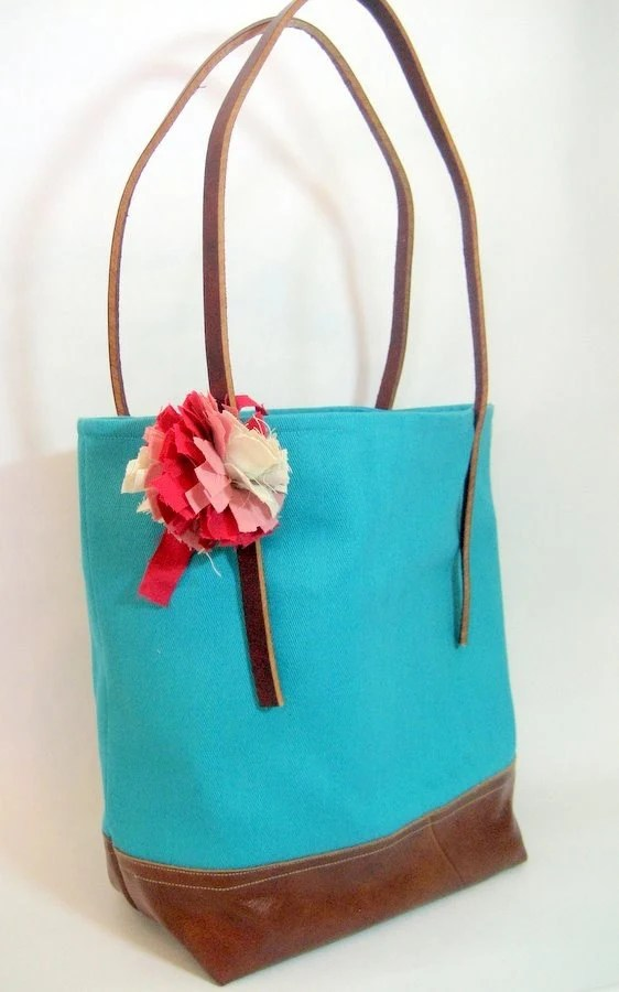 Suzy Market Tote-Turquoise