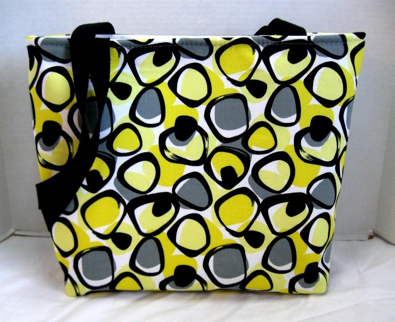Large Black Yellow Grey Geometric Purse/Tote