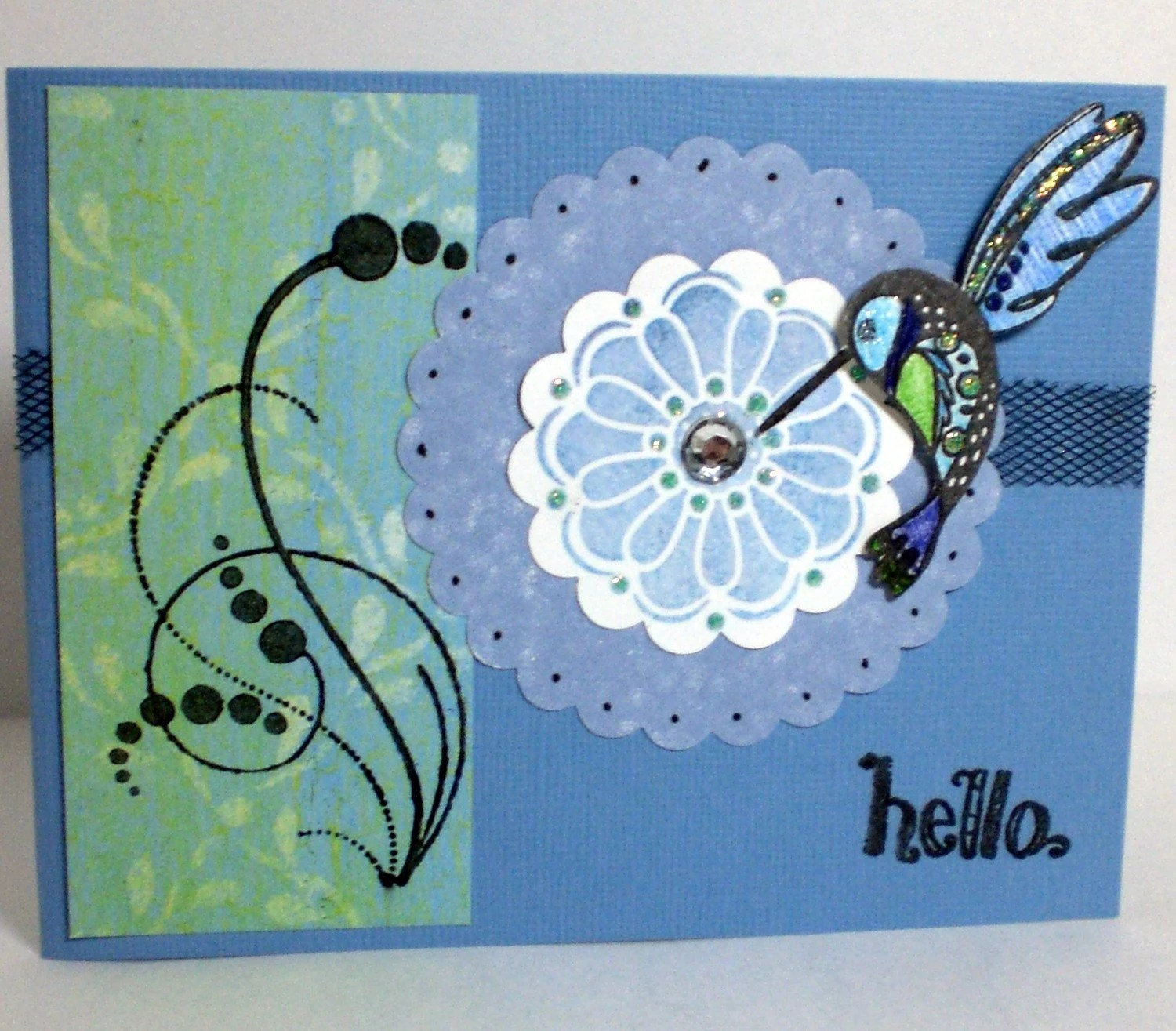 Blue, Green, and Turquoise Hummingbird Hello Card