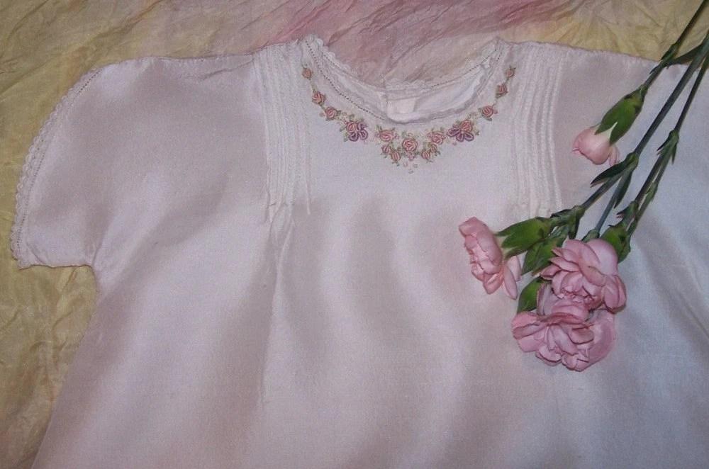 Hand Embroidered Silk Dupion Christening Dress