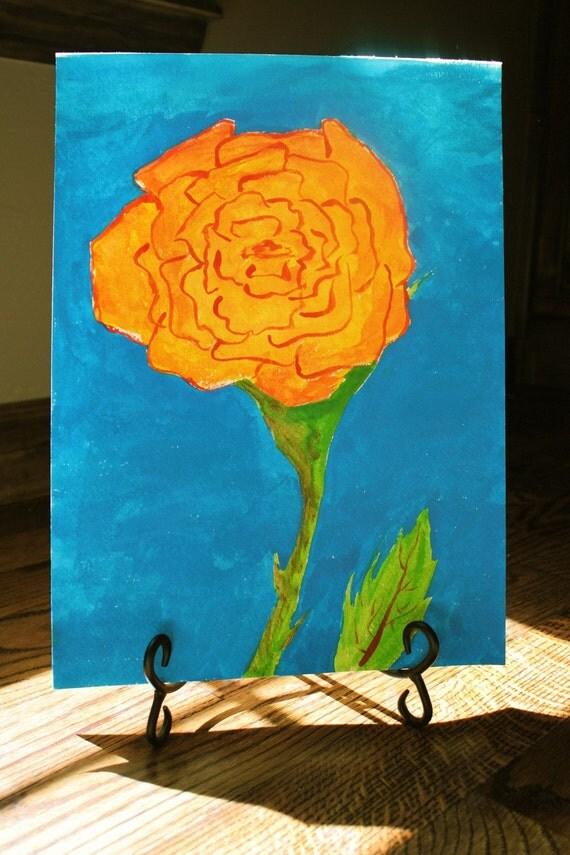 Watercolor Orange Flower
