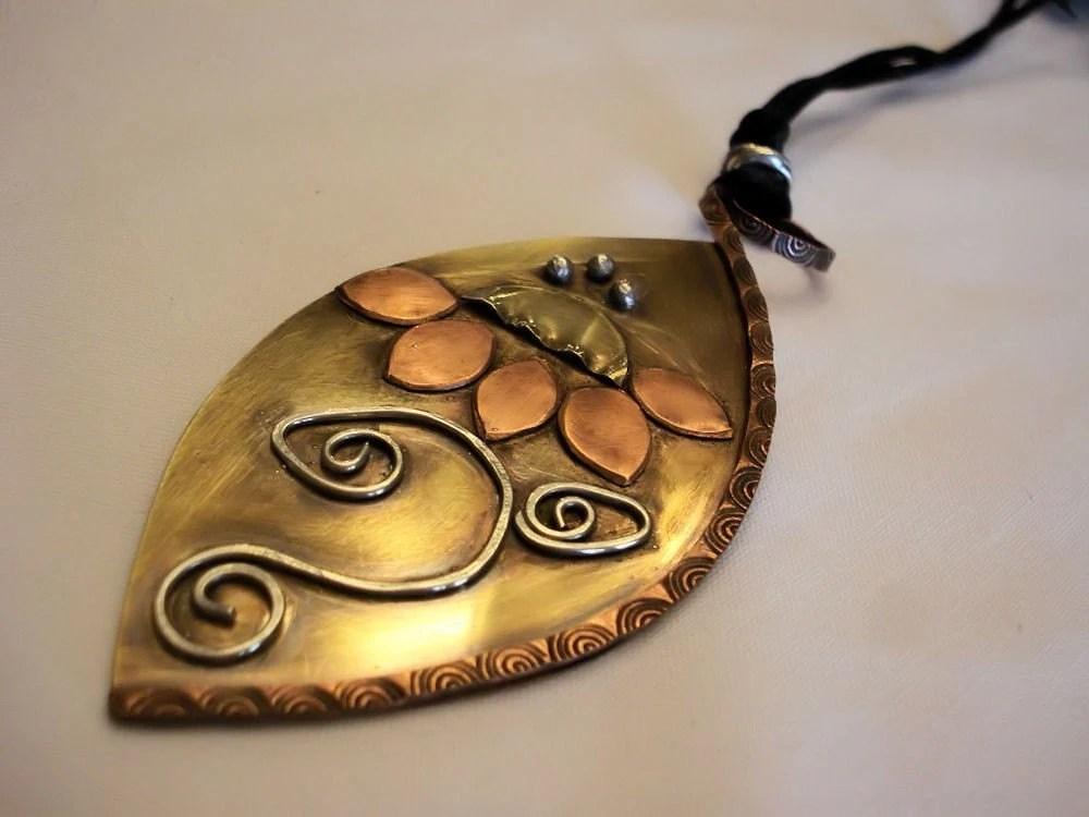 funky pendant flower brass