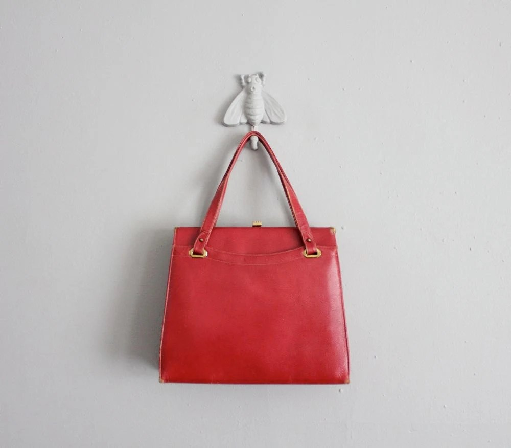 1950s vintage XL cardinal red leather bag