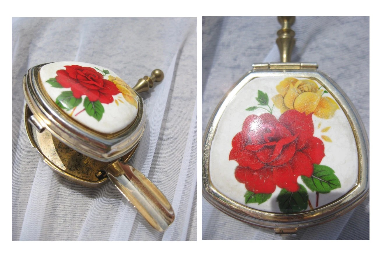 Antique Gold Metal and Enamel Personal Ashtray with Yellow and Red Rose