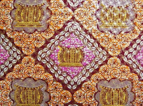 African Fabric 1/2 Yard Cotton PINK ORANGE GOLD Metallic Abstract