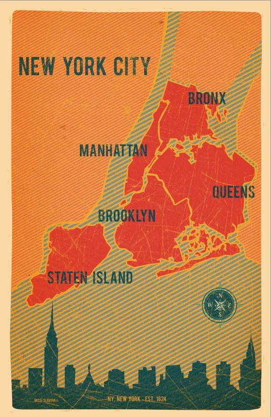 NYC Boroughs map by VassiSlavova