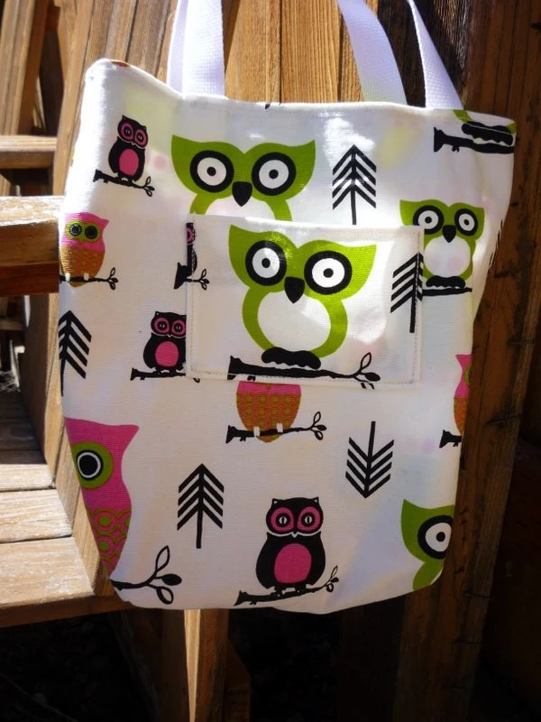 Reversible Cute Owl and Stripes Green and Pink Tote Bag