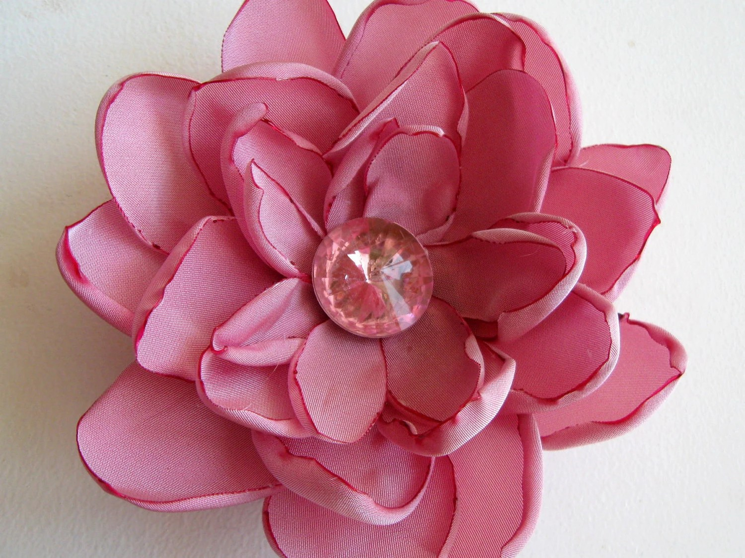 Honeysuckle pink lotus flower brooch: taffeta and pink faceted crystal center