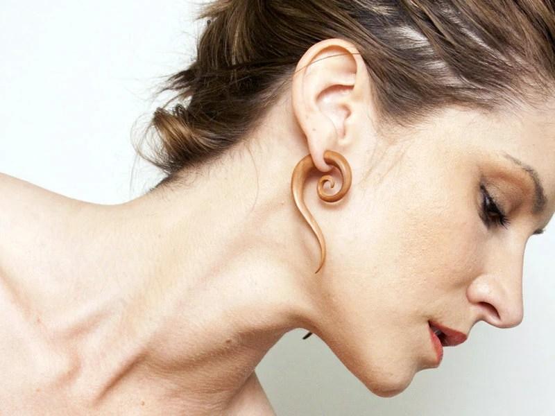 Fake Gauges - Sahara Spirals - Large Tan Wooden Earrings