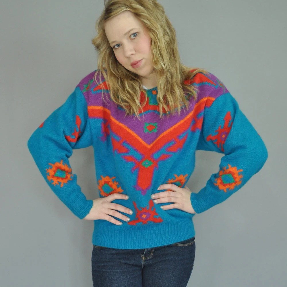 Artsy AZTEC Vintage 90s Wool and Angora Fuzzy Ethnic Tribal Print Knitted Dolman Sleeve Pullover Sweater S/M Small Medium
