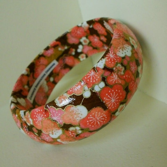 Bright Coral, Brown, White and Gold Floral Hand-Decoupaged Handmade Wood Bracelet by cadencedesigns on etsy
