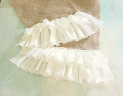 double ruffle table runner - 58 inches long