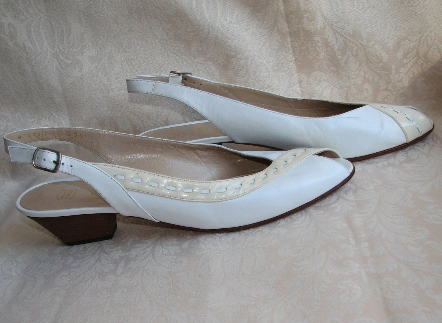 Vintage Peep-Toe White Sling-Backs