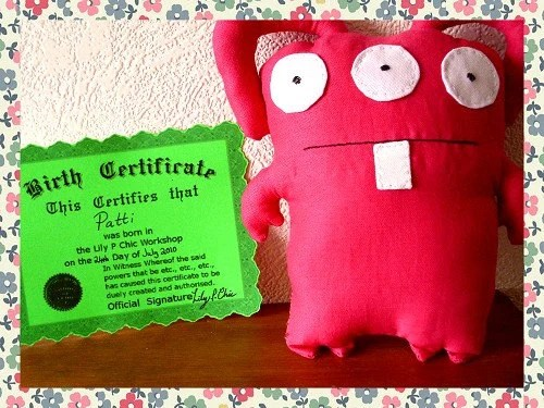 Patti The Ugliee Monster Doll - One Off Complete with Birth Certificate