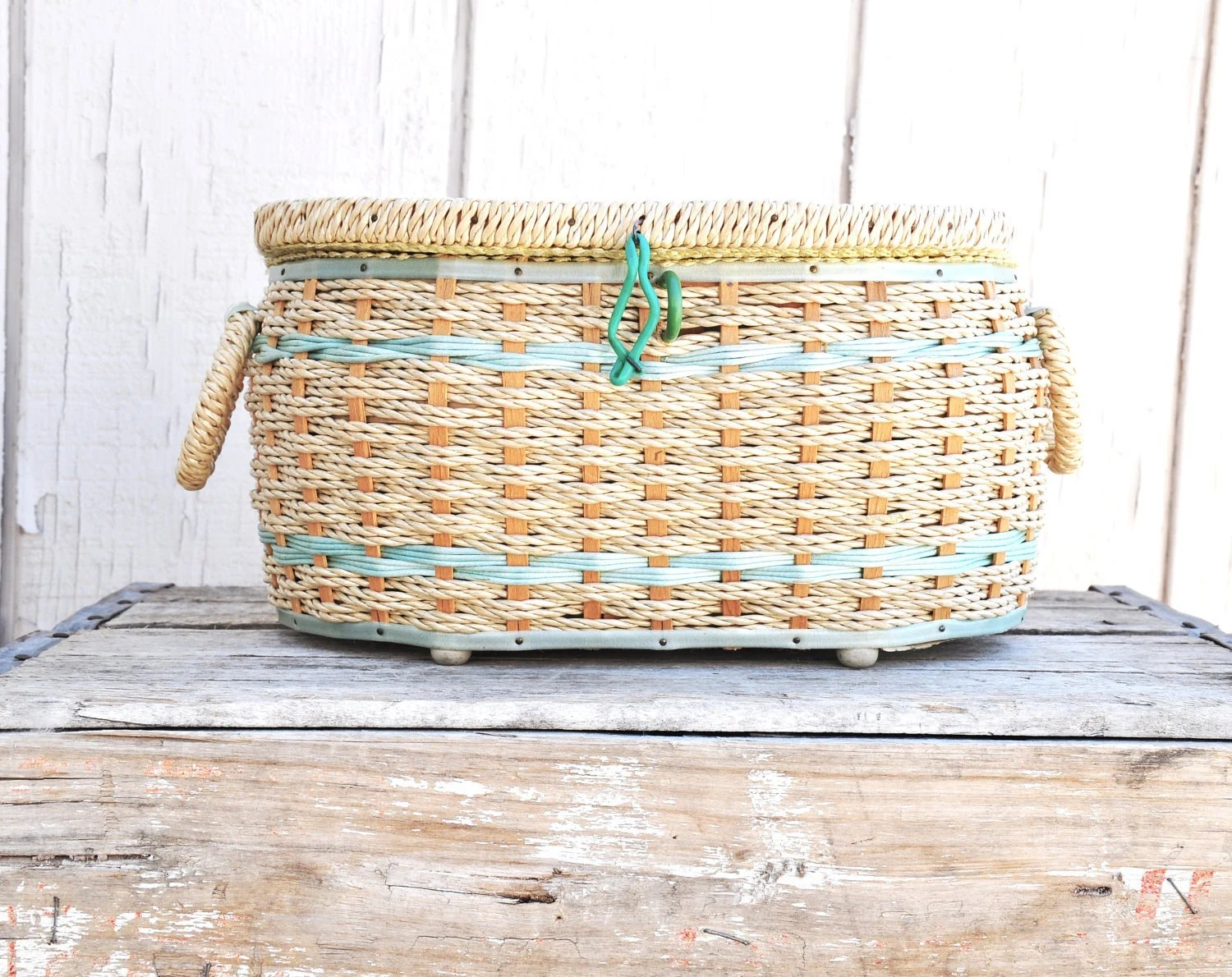 Lovely Green and Straw Sewing Basket from Japan
