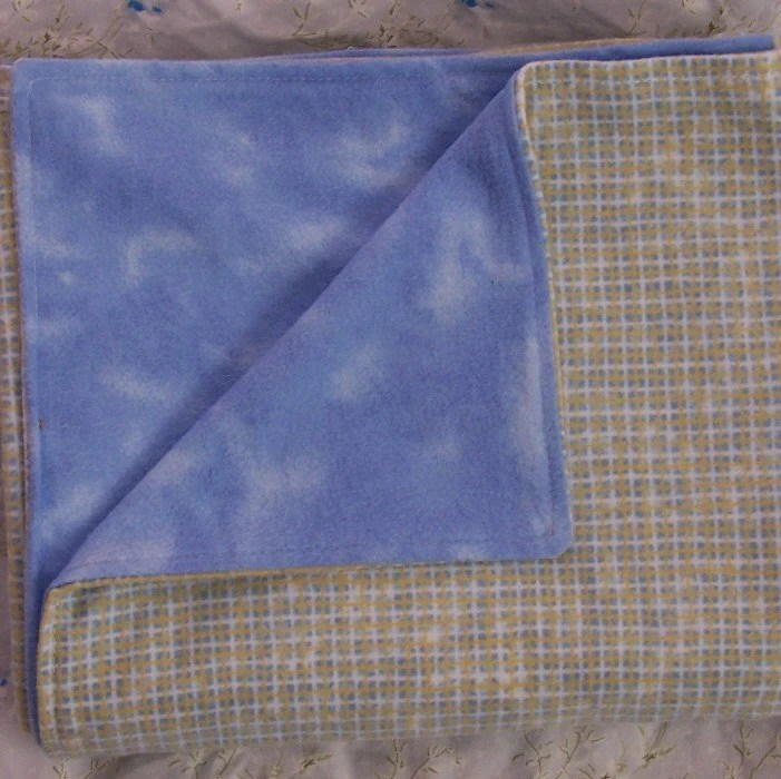 ON SALE blue and yellow gingham flannel blanket
