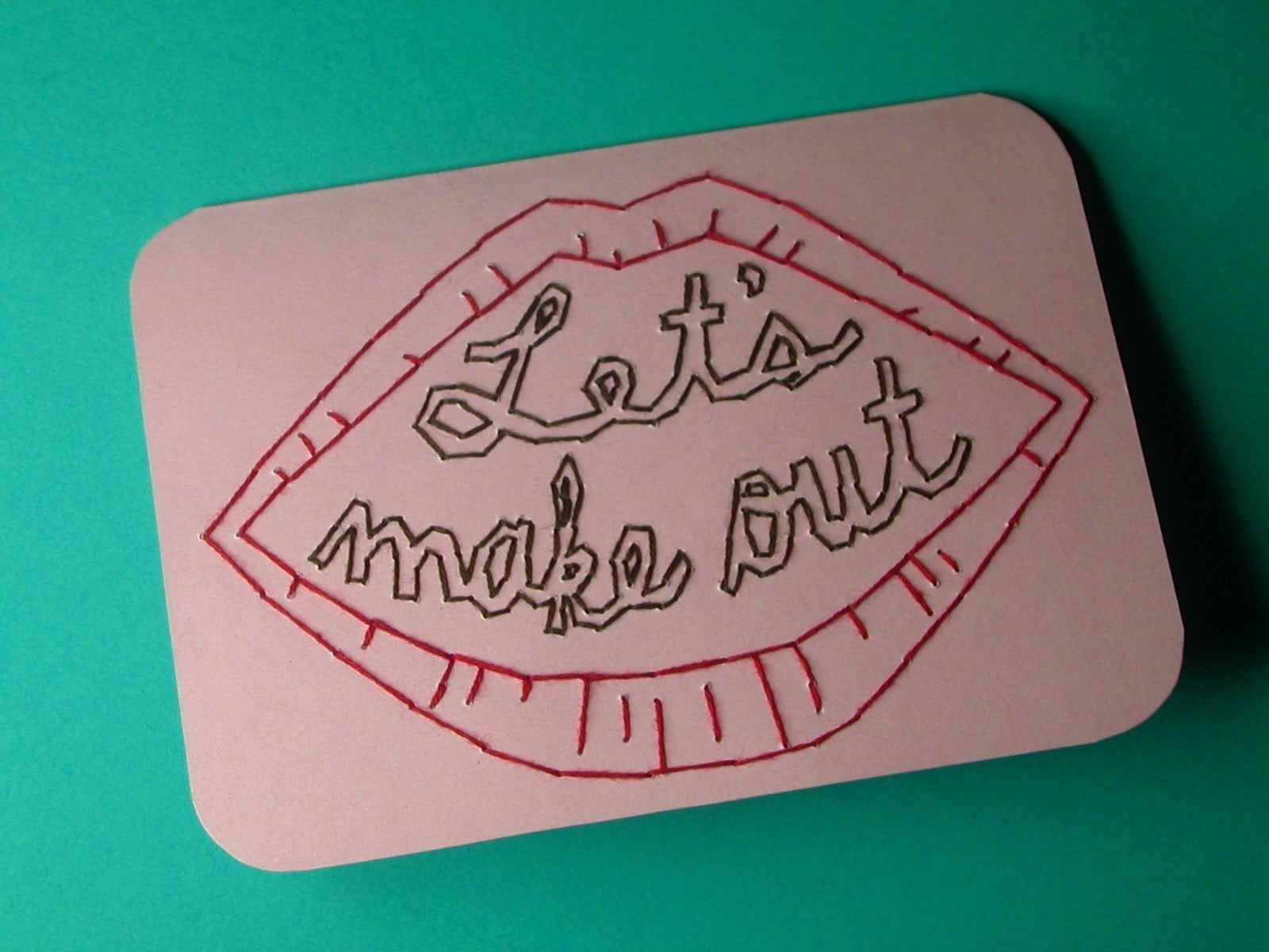 let's make out embroidered card
