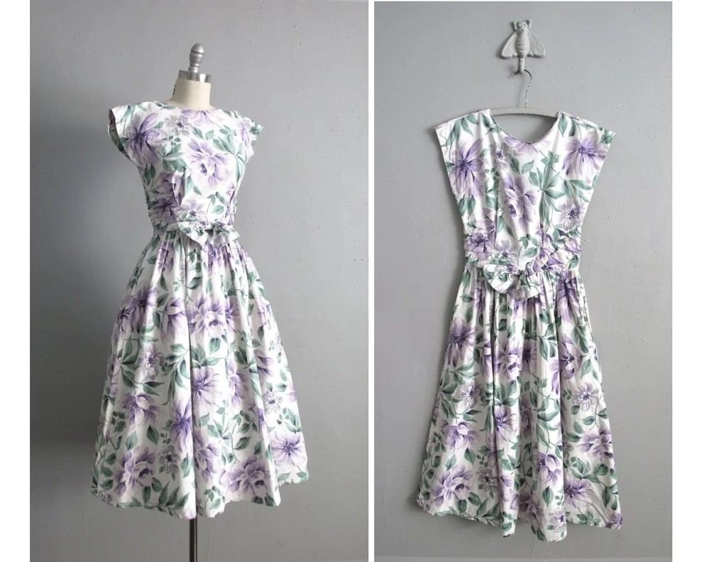 vintage OPEN BACK floral garden dress