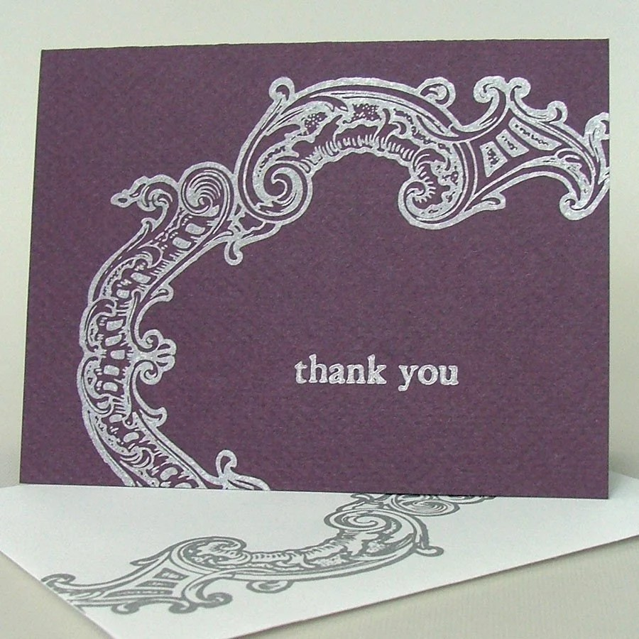 Silver Frame letterpress thank you card