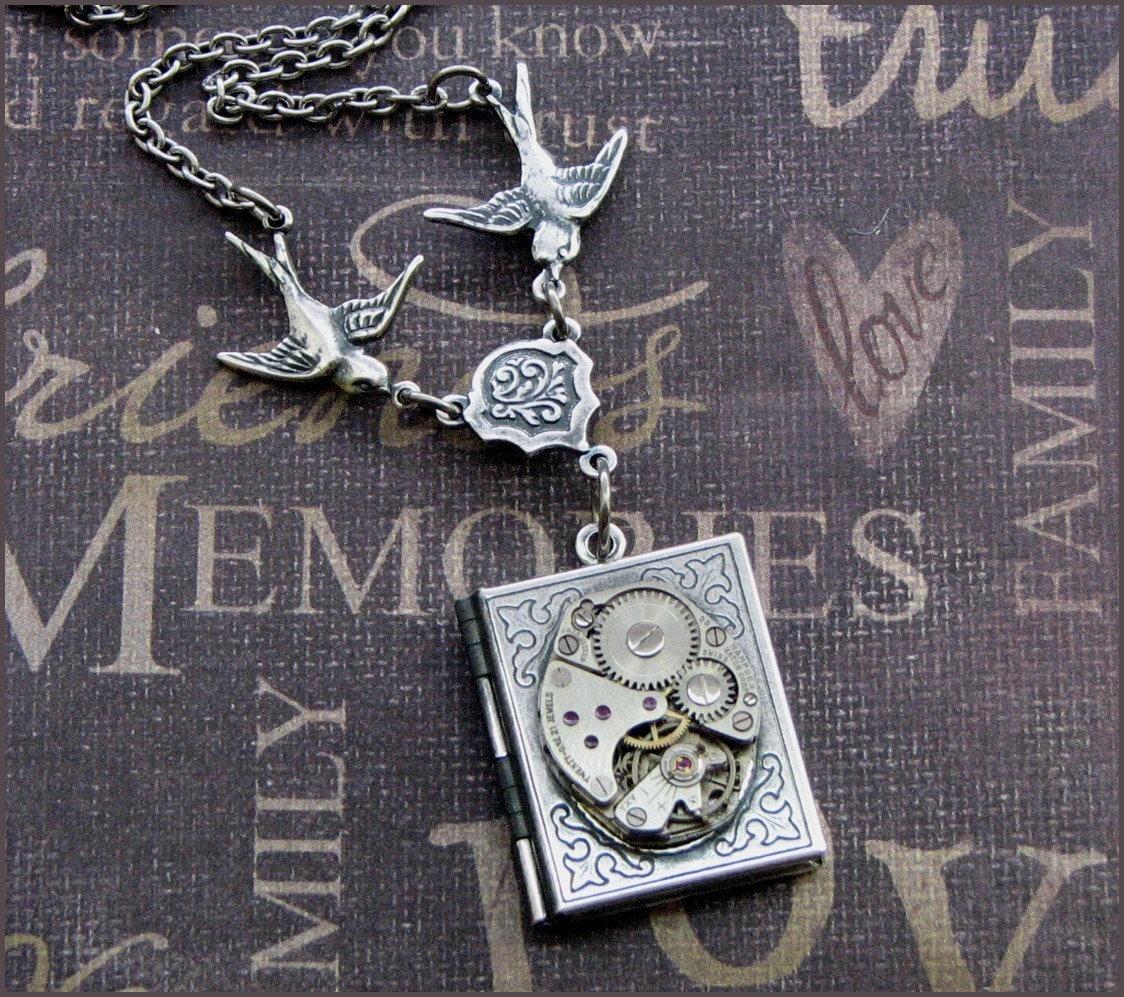 Book Necklace Steampunk