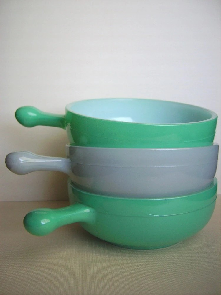 Vintage Glasbake Soup - Casserole Bowls with Handle