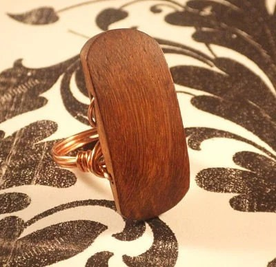 Brown Wood Chunky Ring