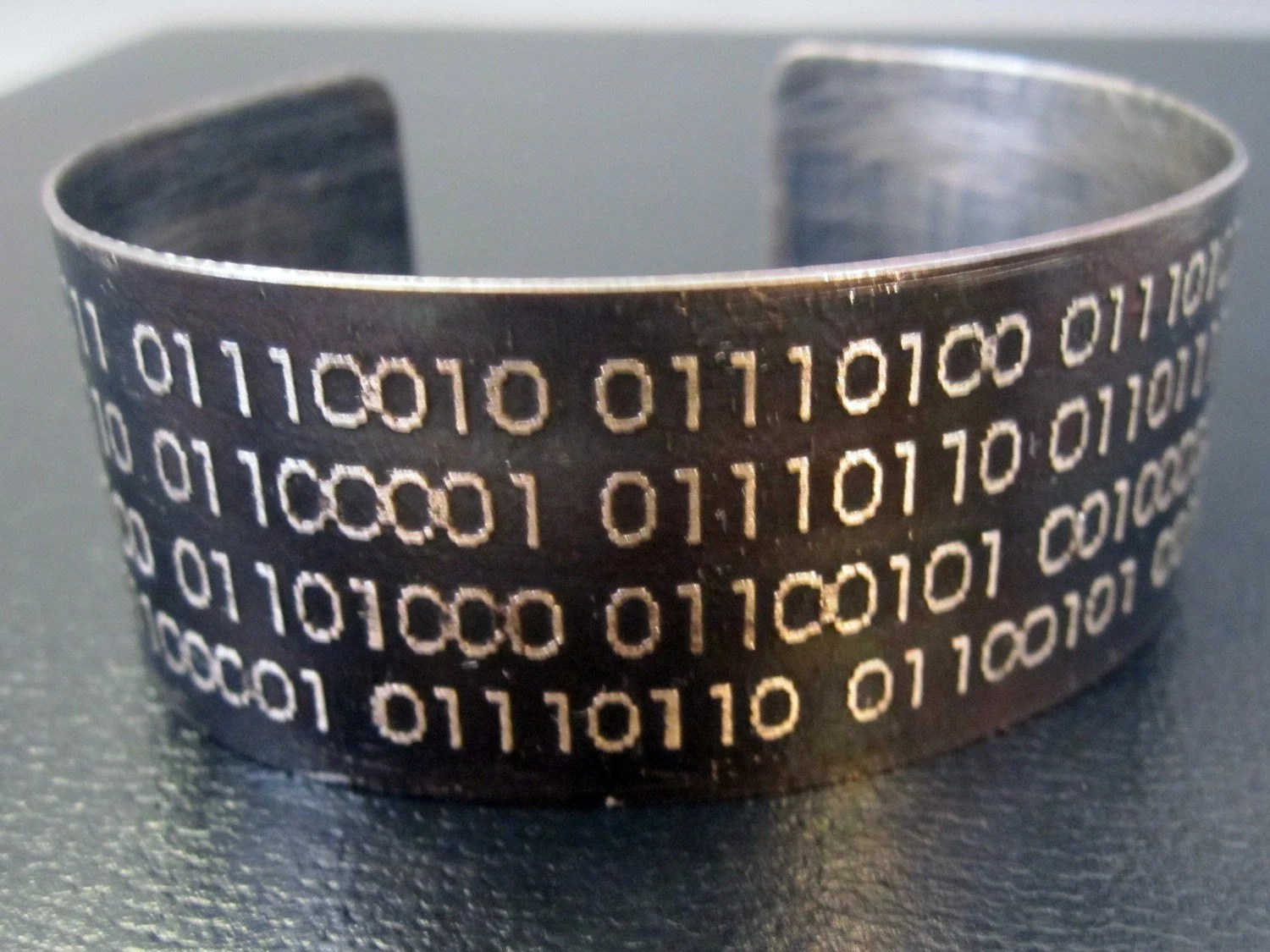 Happiness Depends Upon Ourselves Binary Code Etched Sterling Silver Cuff Bracelet by Karla Wheeler Design on Etsy