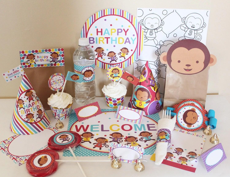Stockberry Studio Five Little Monkeys Printable Party Package