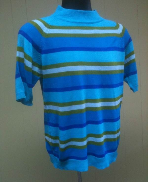 1960s Mens Mod Striped Short Sleeve Knit Mock Turtleneck