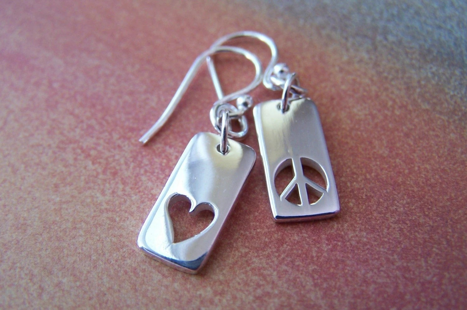 Sterling Silver Love and Peace Earrings from Bead Designs by Ellen