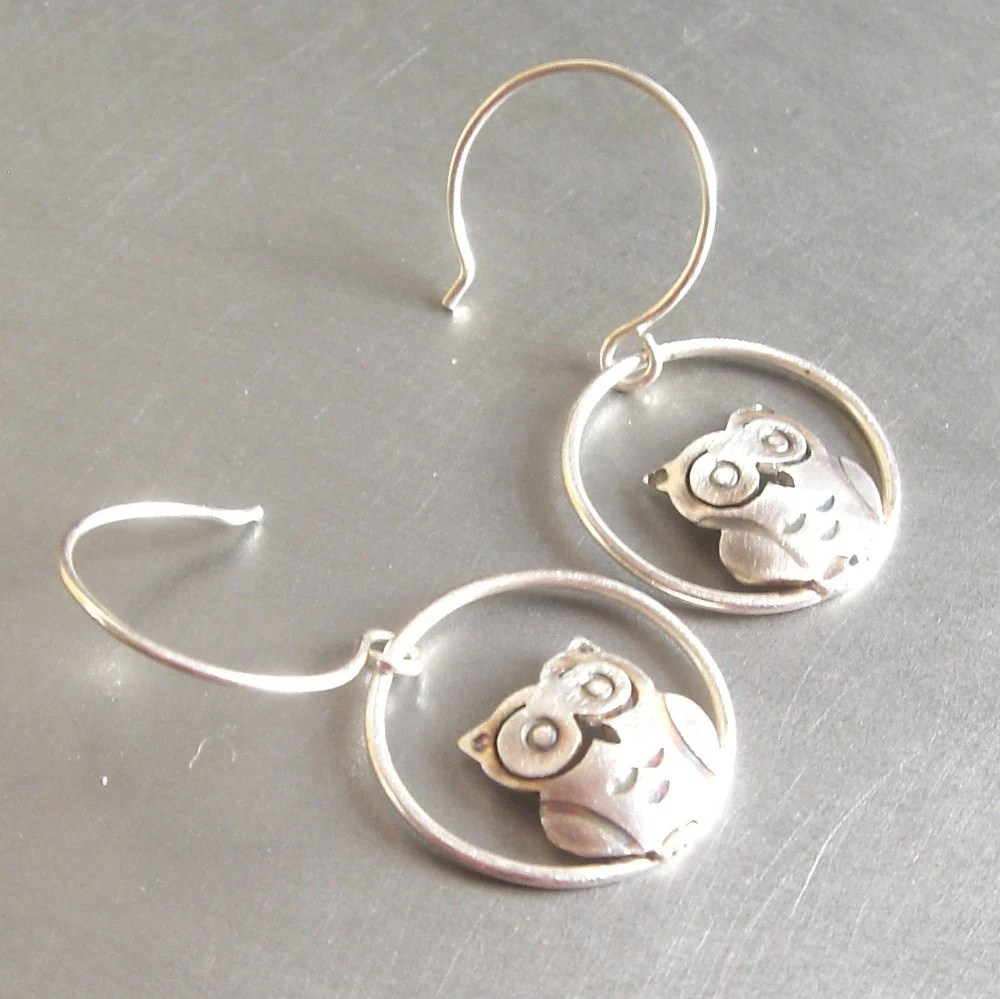 Small Silver Owl Earrings