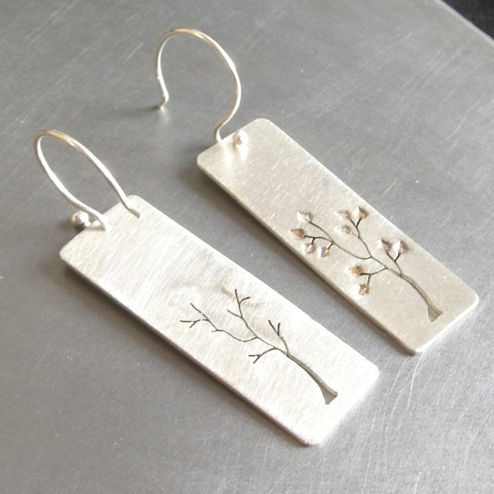 Reversible Leafy Silver Tree Earrings