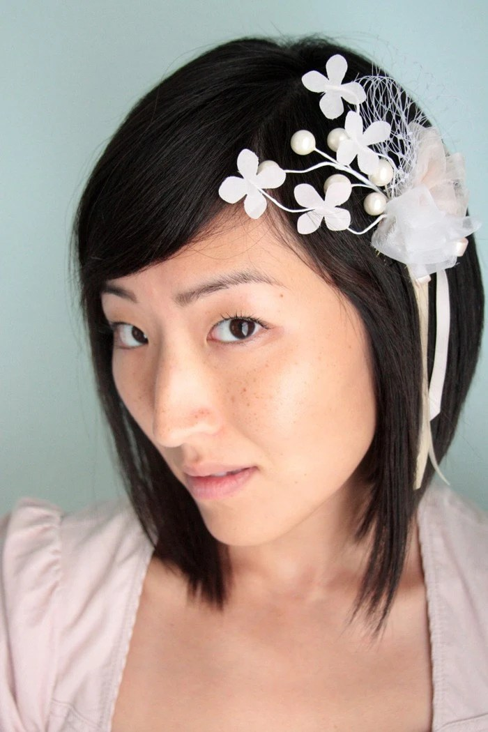 white floral hair accessories
