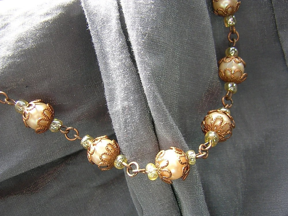 Steampunk/Vintage Style Copper and Distressed Pearls Upcycled Necklace - Handmade by Rewondered D225N-00350 - $20.95
