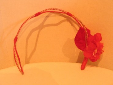Vintage 1950s Cardinal Red Headband / Fascinator Hat with Flowers