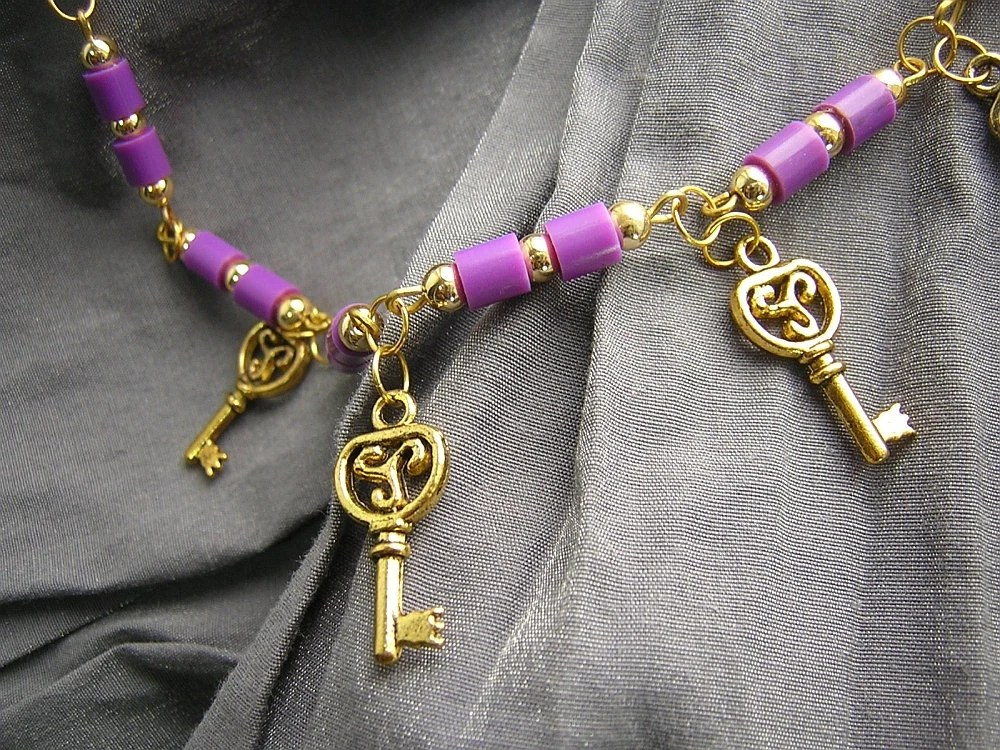 Purple and Gold Keys Necklace Handmade by Rewondered