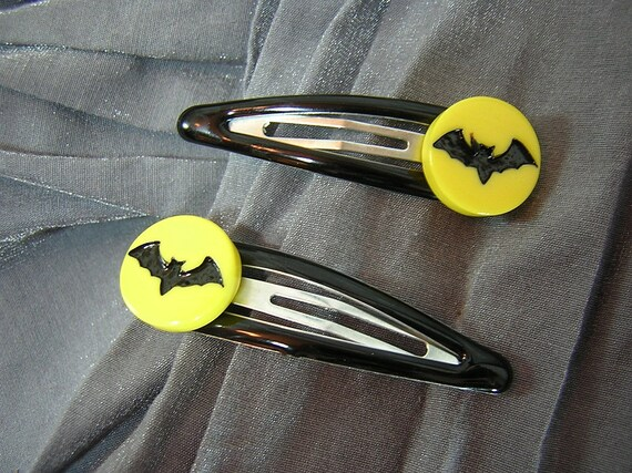 Black Bat on Yellow Moon or Batman Signal Snap Barrettes by Rewondered D202B-00006 - $6.95