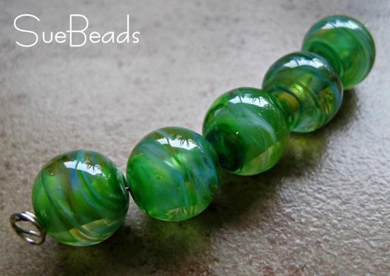 Lampwork Beads - SueBeads - Round Swirl Beads - Atlantis Beads - Handmade Lampwork Beads - SRA M67